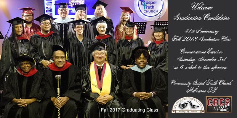 Chesapeake Bible College Fall 2018 Graduation